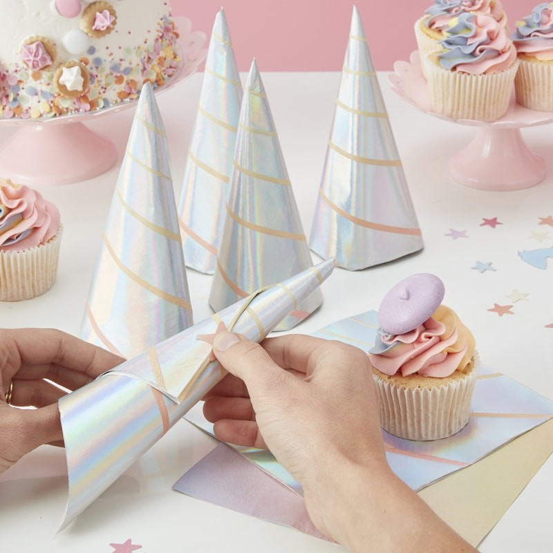 """Make a Wish"" Iridescent Unicorn Horn Paper Napkins"