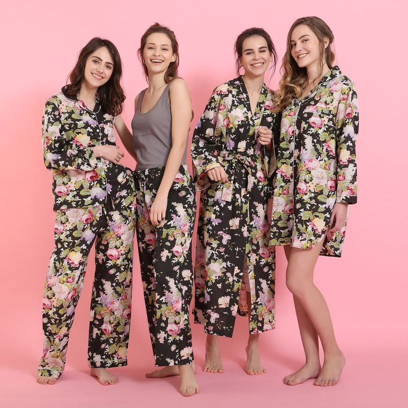 "Mahogany ""Bridgette"" Black Floral Cotton Pyjamas - Putti Fine Fashions"