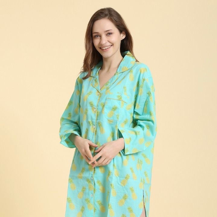 """Pineapple"" Turquoise - Nightshirt 