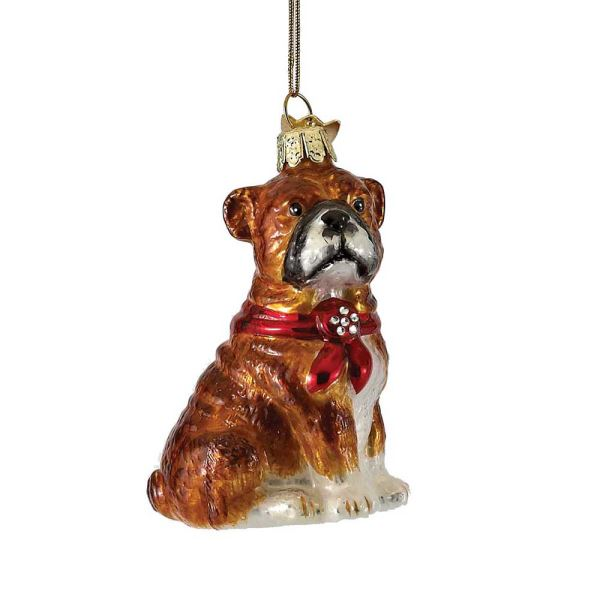 Kurt Adler Bulldog with Red Bow Glass . Dog Christmas Ornament  | Putti Christmas