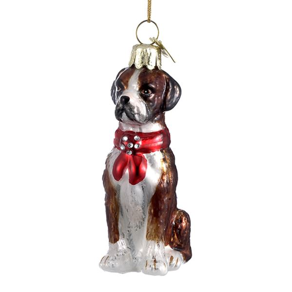 Kurt Adler Boxer with Red Bow Glass Dog Christmas Ornament | Putti Christmas