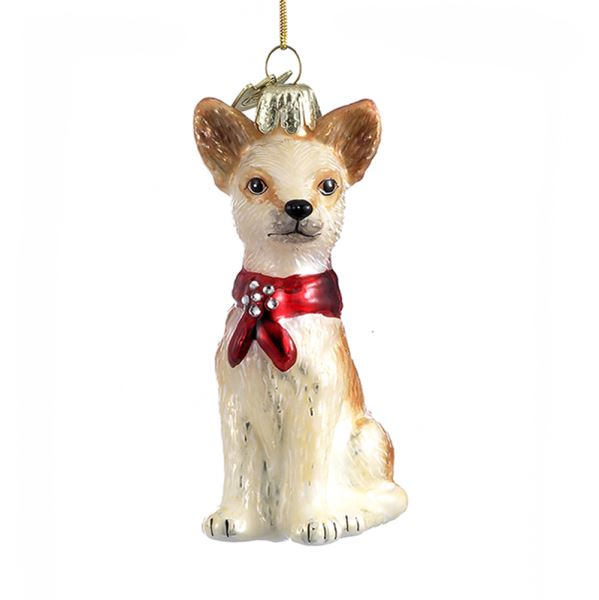 Kurt Adler Chihuahua with Red Bow Glass Dog Christmas Ornament | Putti Christmas