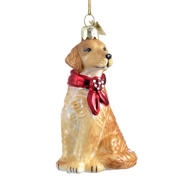 Kurt Adler Golden Retriever with Red Bow Glass Ornament  | Putti Christmas