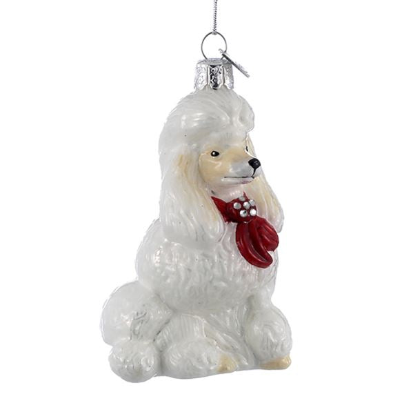 Kurt Adler Poodle with Red Bow Glass Ornament | Putti Christmas