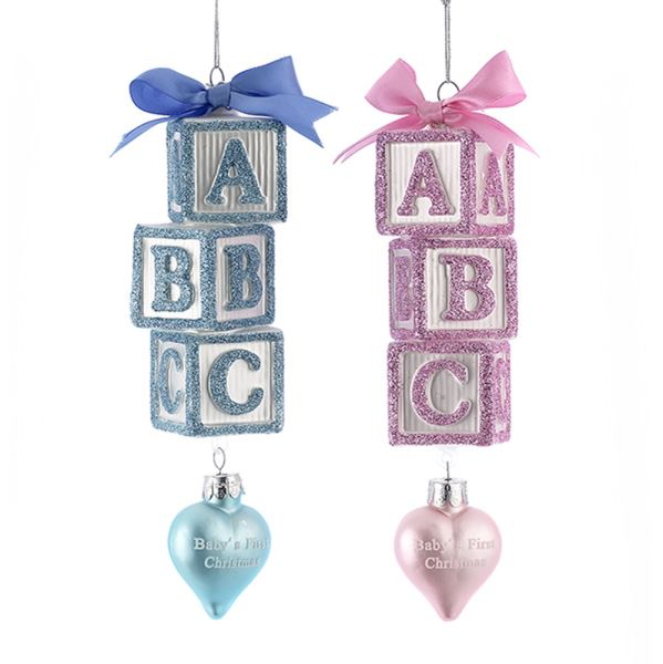 Kurt Adler Pink or Blue ABC Blocks Ornament