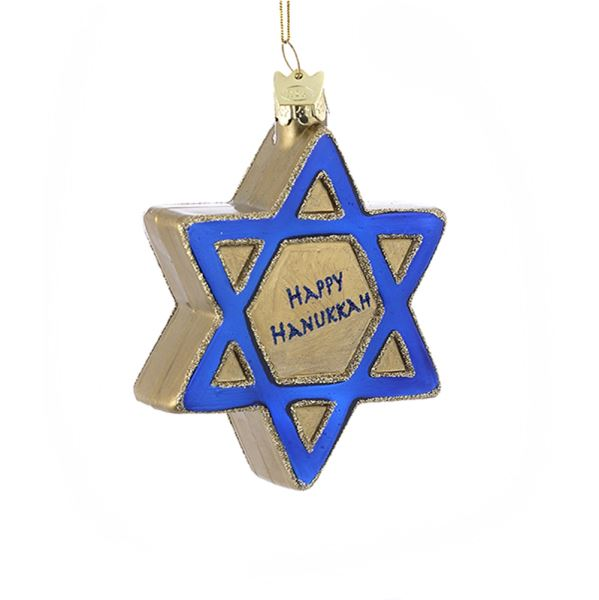 Adler Hanukkah Star of David Glass Ornament