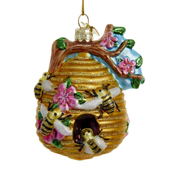 Kurt Adler Bee Hive Glass Ornament  | Putti Christmas Decorations