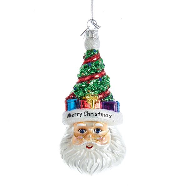 Kurt Adler Glass Santa Head with Tree Ornament