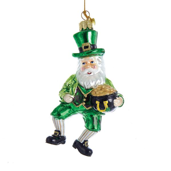 Kurt Adler Glass Irish Santa Ornament