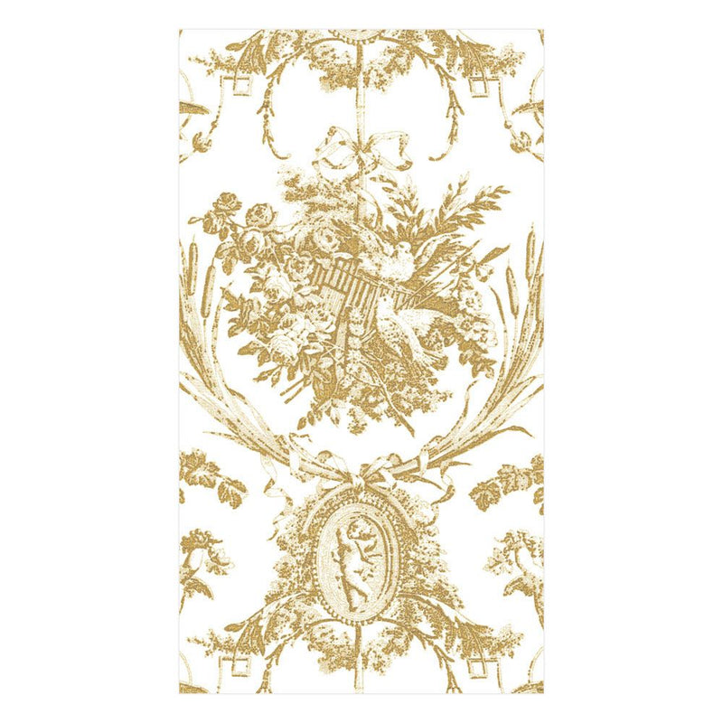 Gold Romantic Toile Paper Napkin - Guest