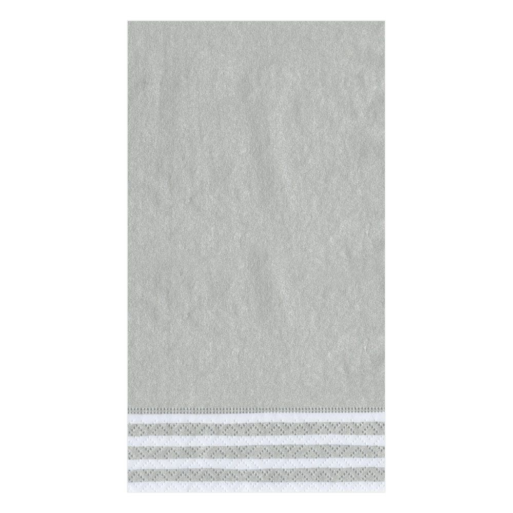 Stripe Border Silver Paper Napkin - Guest, CI-Caspari, Putti Fine Furnishings