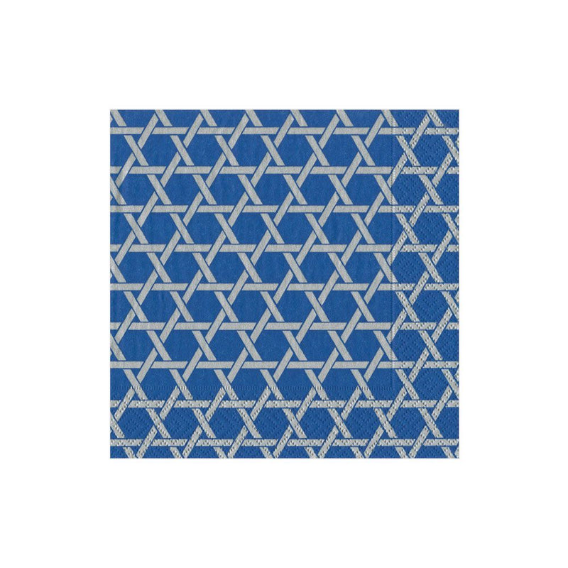 Blue & Silver Star Lattice Paper Napkins - Boxed Cocktail