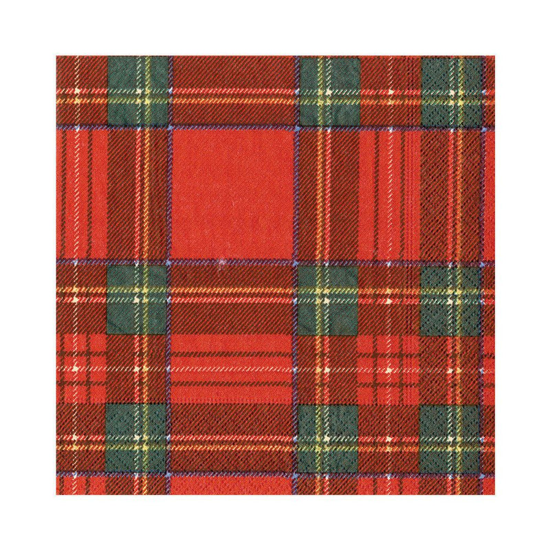 Royal Plaid Paper Napkins - Lunch | Putti Christmas Canada