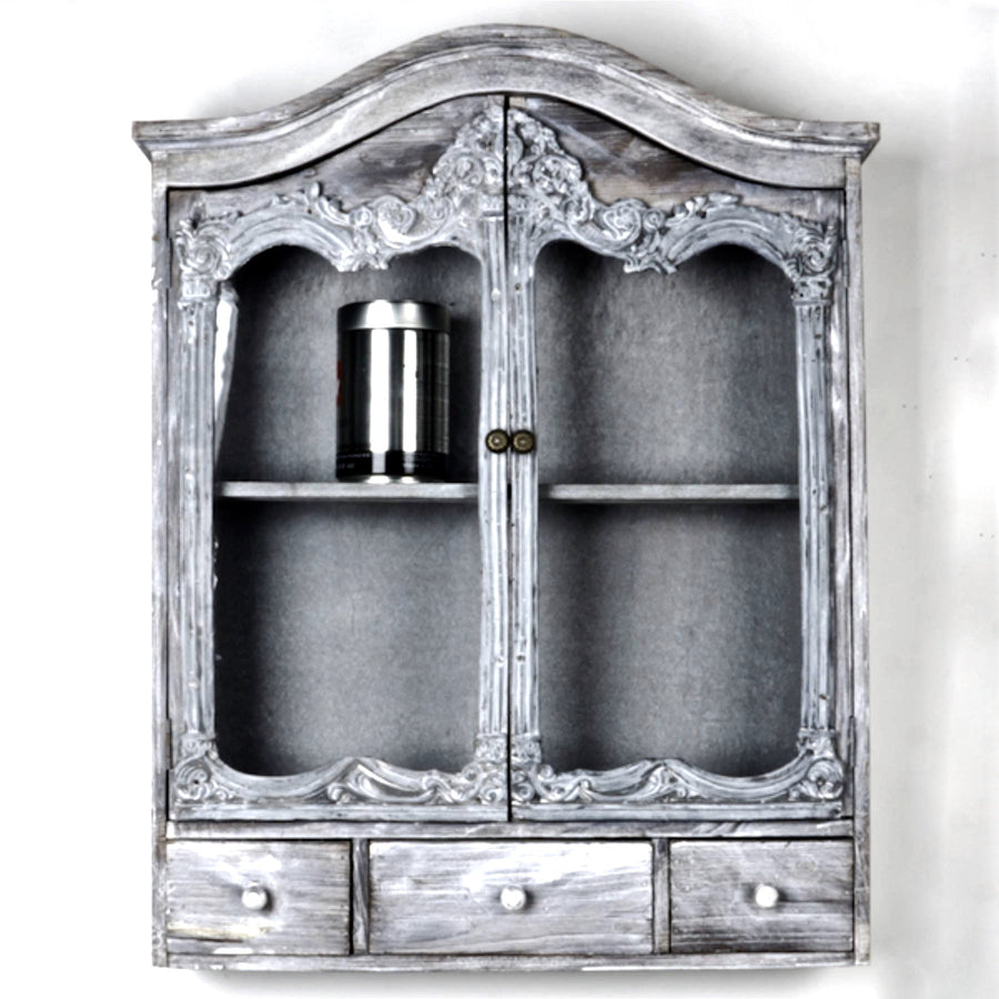 Antique Style Wooden Wall Cabinet - Grey Wash-Home Furnishigs-Forpost Trade-Putti Fine Furnishings