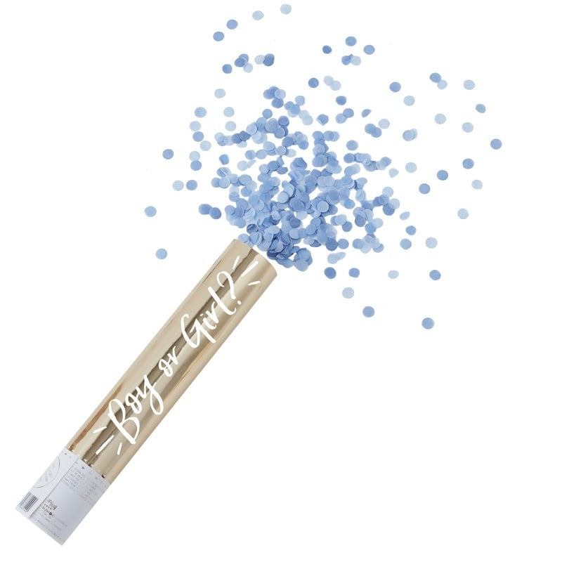 Gold Foiled Blue Gender Reveal Compressed Air Confetti Cannon Shooter, GR-Ginger Ray UK, Putti Fine Furnishings