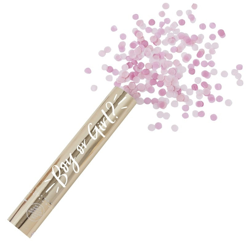 Gold Foiled Pink Gender Reveal Compressed Air Confetti Cannon Shooter, GR-Ginger Ray UK, Putti Fine Furnishings