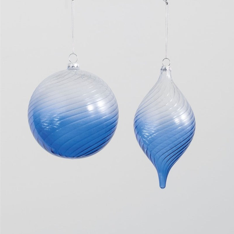 Blue Scroll Glass Ornament