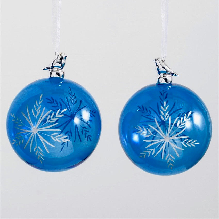 Blue Etched Snowflake Glass Ornament with Bird
