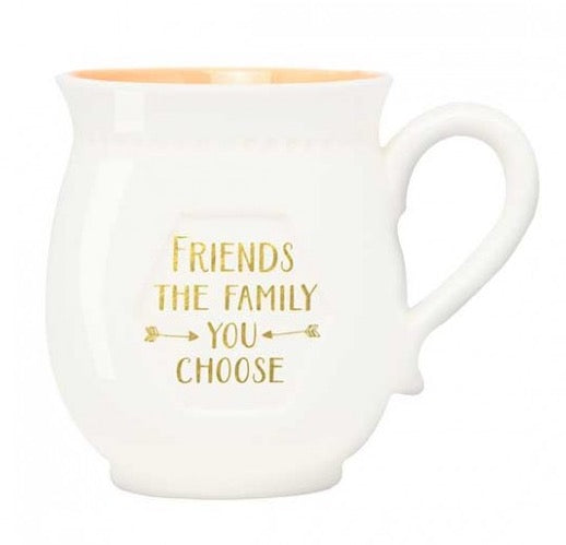 """Friends are the family you choose"" Boxed Porcelain Mug"