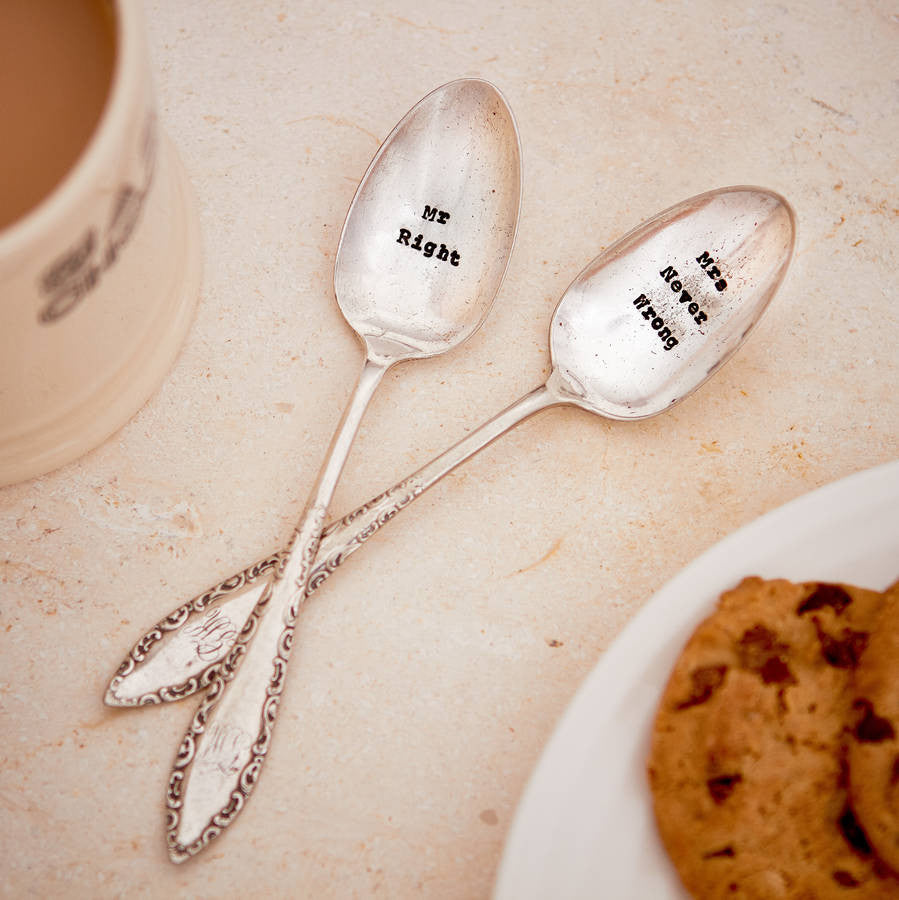 """Mr Right / Mrs Never Wrong"" Tea Spoon Set"