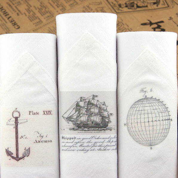 "Tamielle ""Sailing"" Box of Three Men's Hankies, Tamielle, Putti Fine Furnishings"