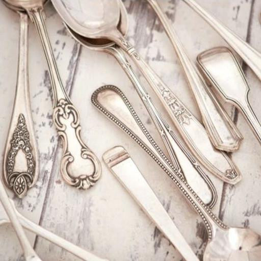 """A hundred hearts would be too few, to carry all my love for you"" - Vintage Serving Spoon -  Hand Stamped Spoons - La De Da Living - Putti Fine Furnishings Toronto Canada - 1"