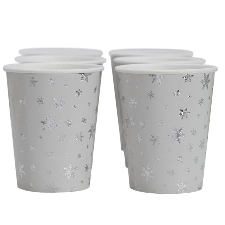 Snowflake Paper Cups  - Silver Foil, GR-Ginger Ray UK, Putti Fine Furnishings
