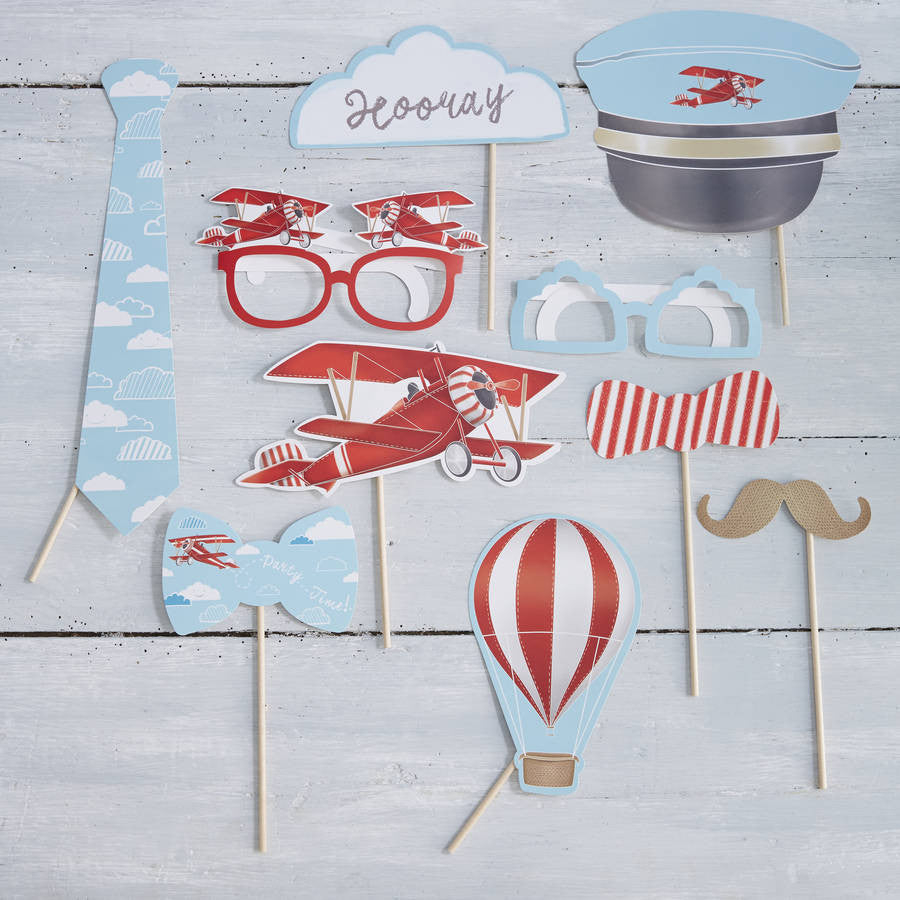 """Flying High"" Vintage Aeroplane - Photo Booth Party Props"