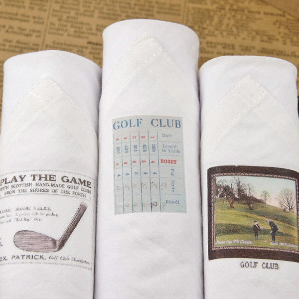 "Tamielle ""Golf"" Box of Three Men's Hankies -  Personal Accessories - Tamielle - Putti Fine Furnishings Toronto Canada - 1"