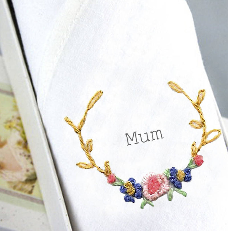 "Tamielle ""Mum"" Embroidered Hanki, Tamielle, Putti Fine Furnishings"