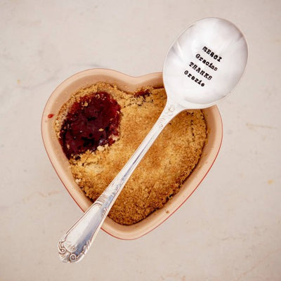 """Merci, Gracias, Thanks, Danke, Grazie"" Vintage Dessert/Cereal Spoon, LDD-La De Da Living, Putti Fine Furnishings"