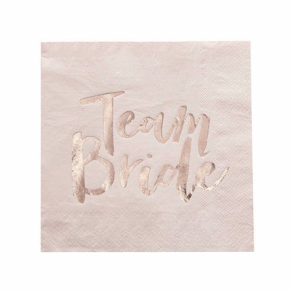 """Team Bride"" Blush Pink & Rose Gold Paper Napkins - Luncheon"
