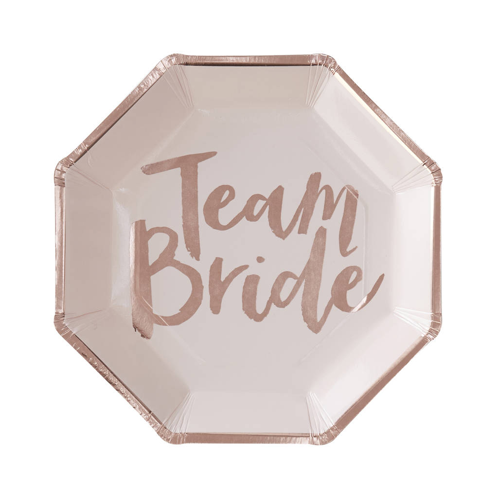 """Team Bride"" Paper Plates, GR-Ginger Ray UK, Putti Fine Furnishings"