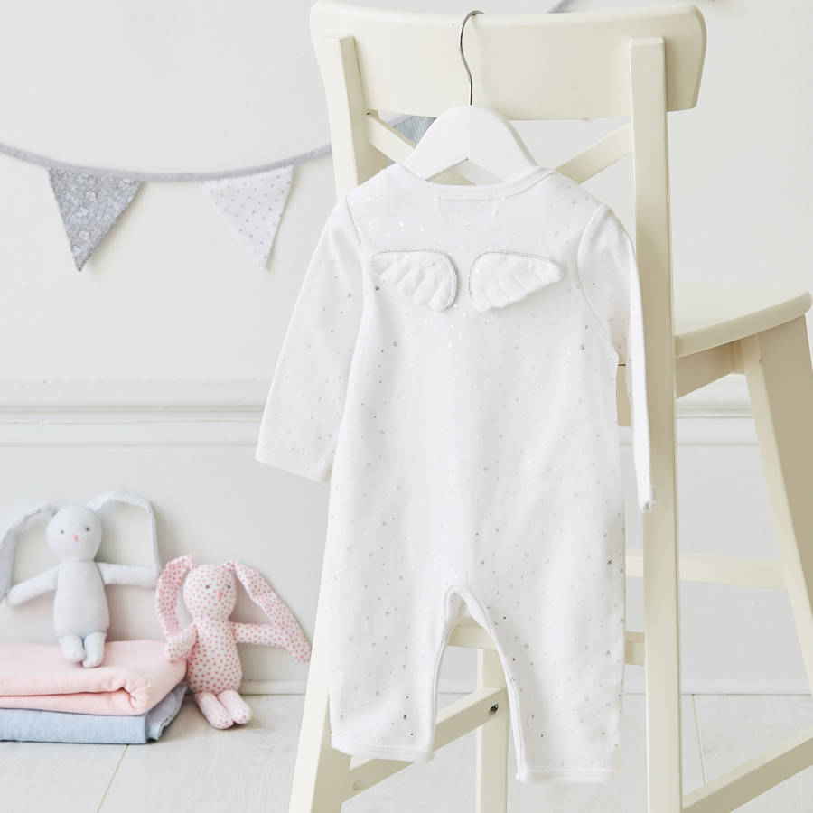 Albetta Silver Star with Angel Wings Babygrow, AUK-Albetta UK, Putti Fine Furnishings