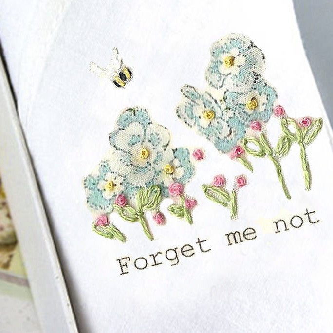 "Tamielle ""Forget Me Not"" Embroidered Hanki, Tamielle, Putti Fine Furnishings"