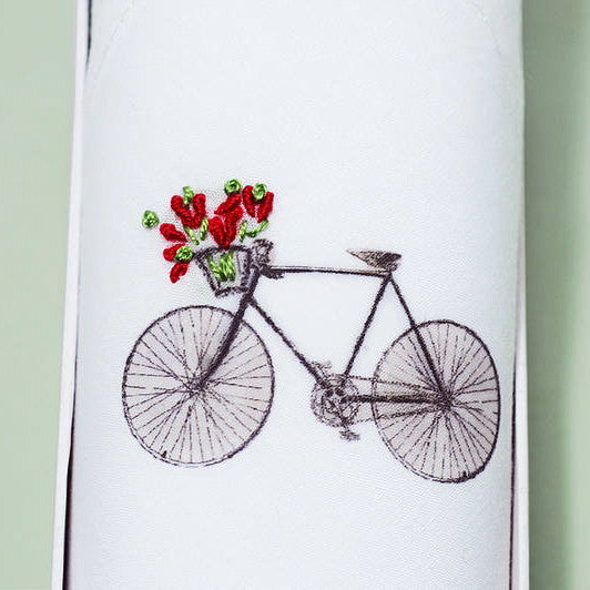 "Tamielle ""Bicycle"" Embroidered Hanki, Tamielle, Putti Fine Furnishings"