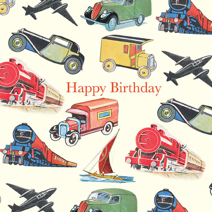 "Playtime ""Vintage Transportation"" Birthday Card"