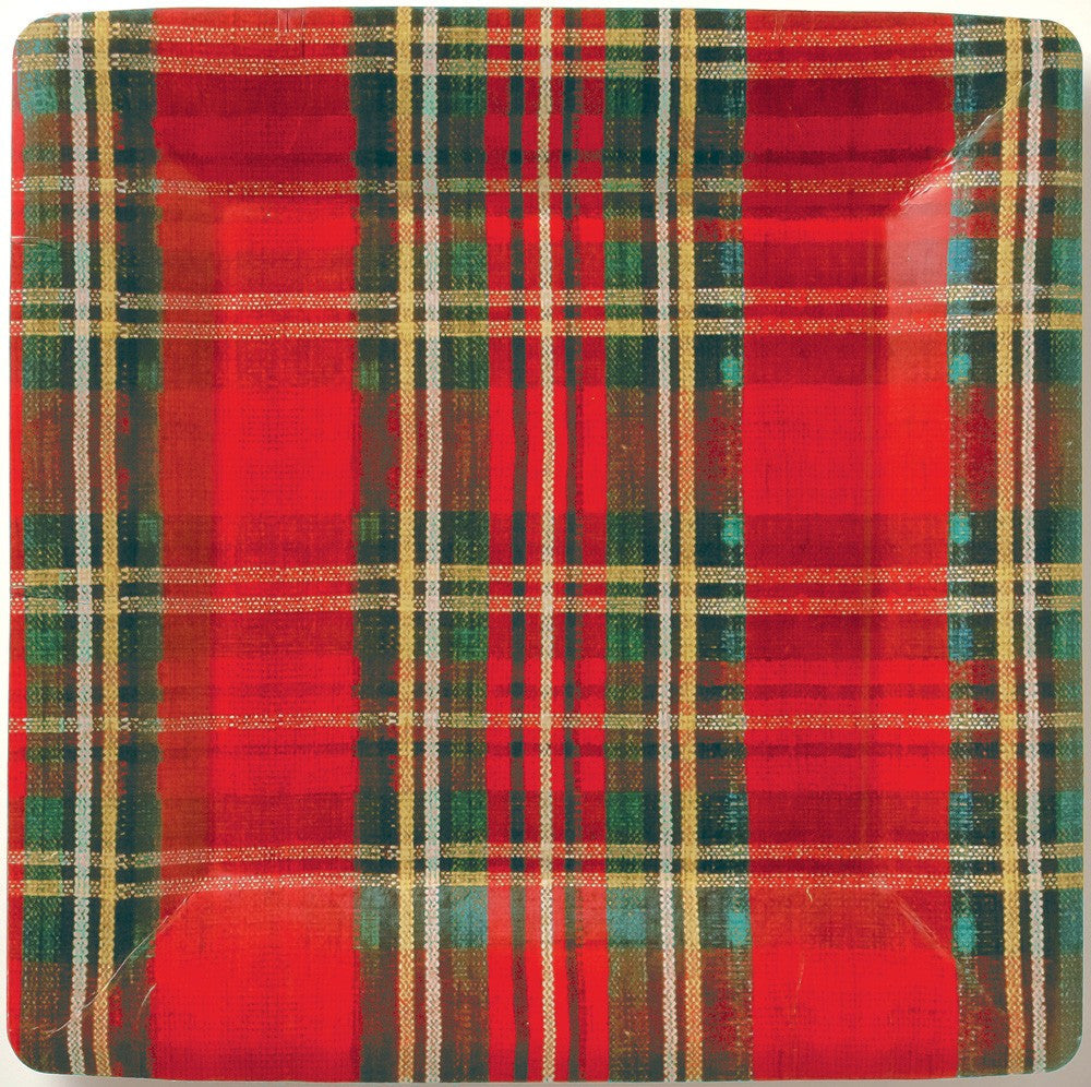Classic Plaid Paper Plate - Dinner -  Party Supplies - Carsim Trading - Putti Fine Furnishings Toronto Canada