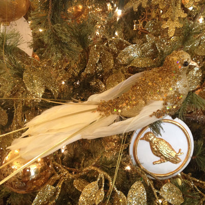 Gold Beaded Feather Bird, CT-Christmas Tradition, Putti Fine Furnishings