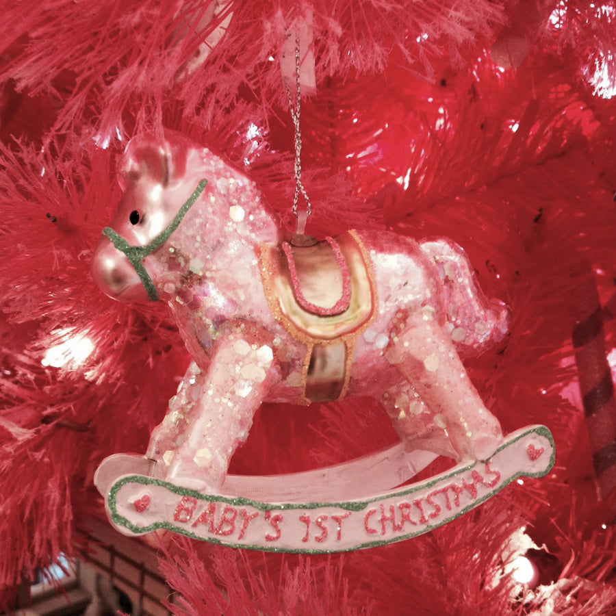 Pink Rocking Horse Glass Ornament