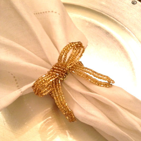 Gold Beaded Bow Napkin Rings -  Napkin Ring - Christmas Tradition - Putti Fine Furnishings Toronto Canada - 1