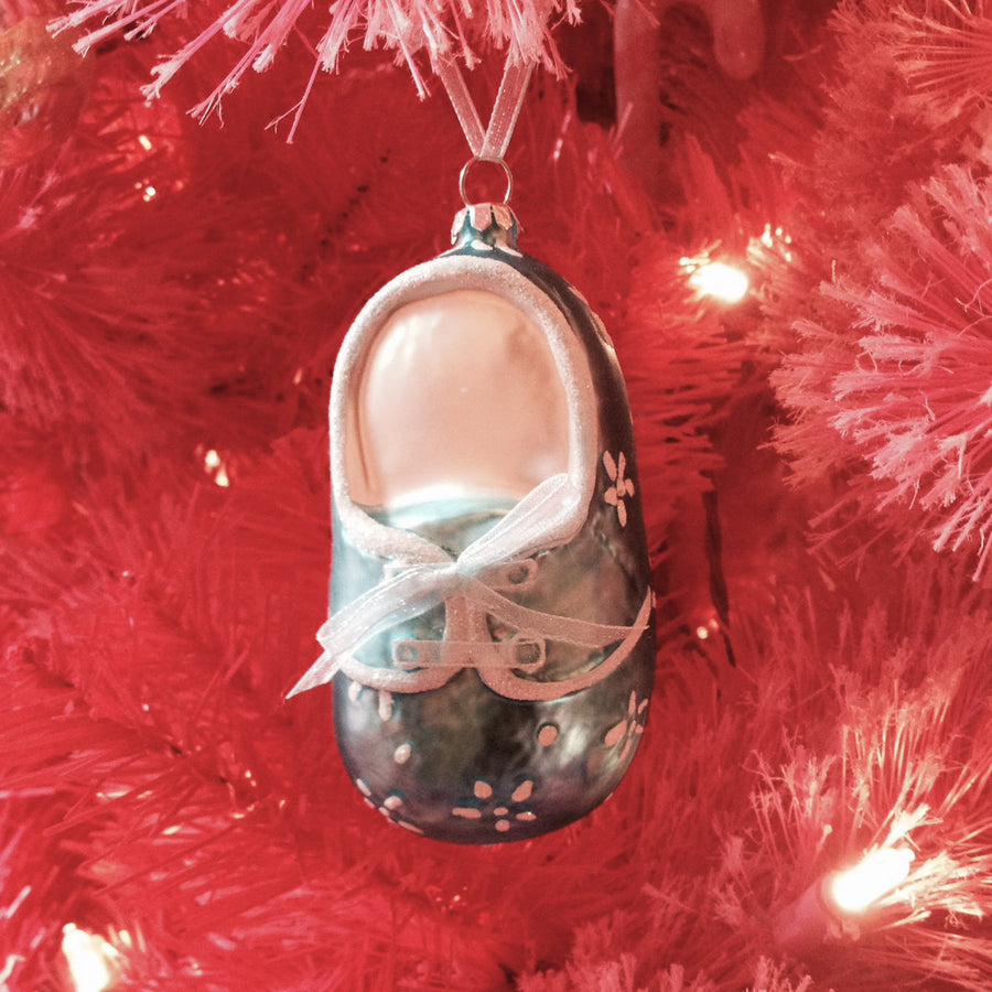 Blue Baby Bootie Glass Ornament, Inovation, Putti Fine Furnishings