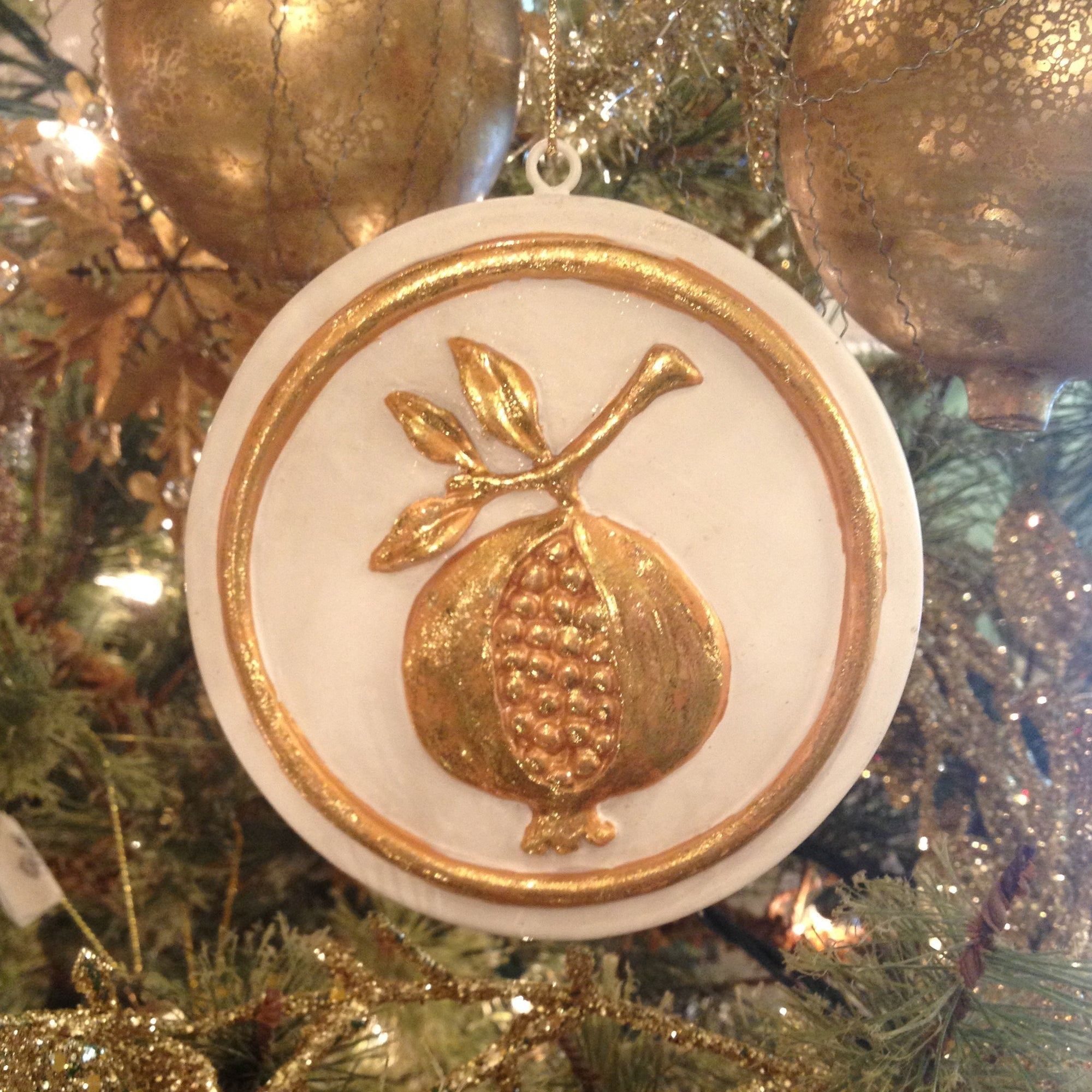 "Bisque ""Pomegranite"" Ornament"
