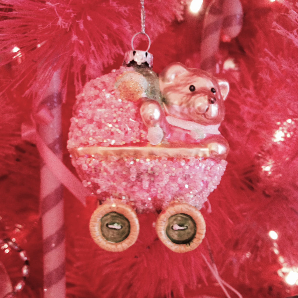 Pink Baby Carriage Glass Ornament-Christmas Decorations-Inovation-Putti Fine Furnishings
