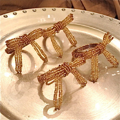 Gold Beaded Bow Napkin Rings, CT-Christmas Tradition, Putti Fine Furnishings