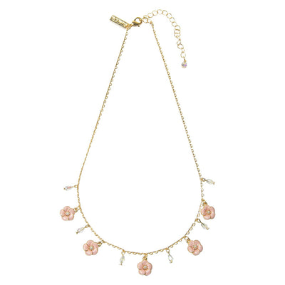 Lovett & Co. Small Rose Necklace in Pink Enamel | Putti Fine Fashions