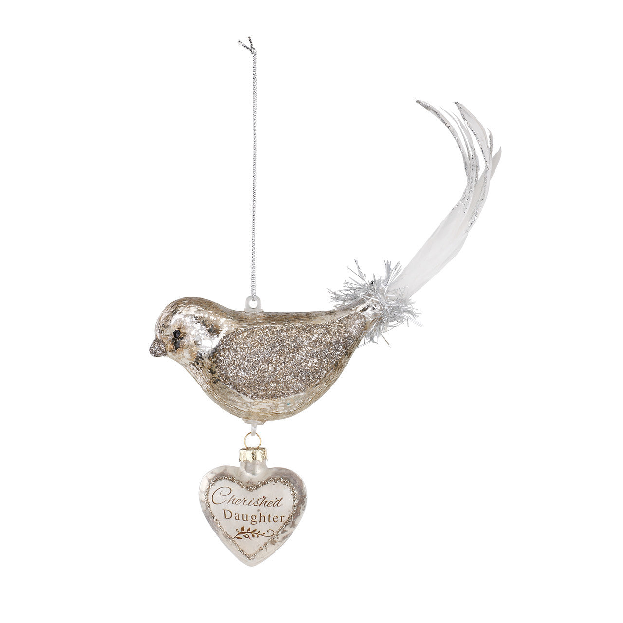 Demdaco Bird Dangle Heart Glass Ornament - Daughter | Putti Christmas
