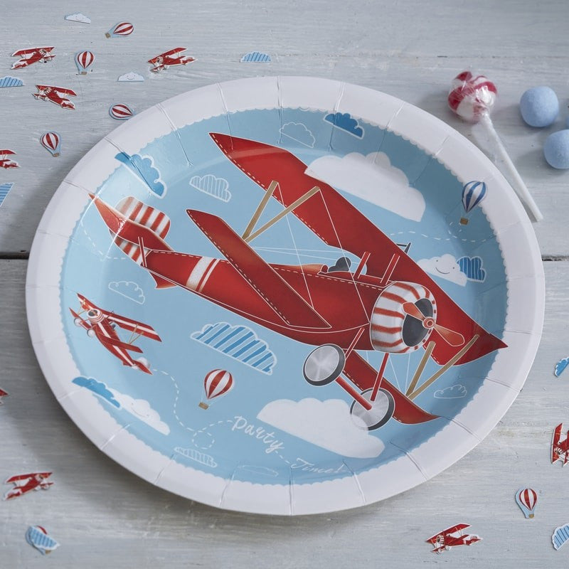 """Flying High"" Vintage Aeroplane - Paper Plate"