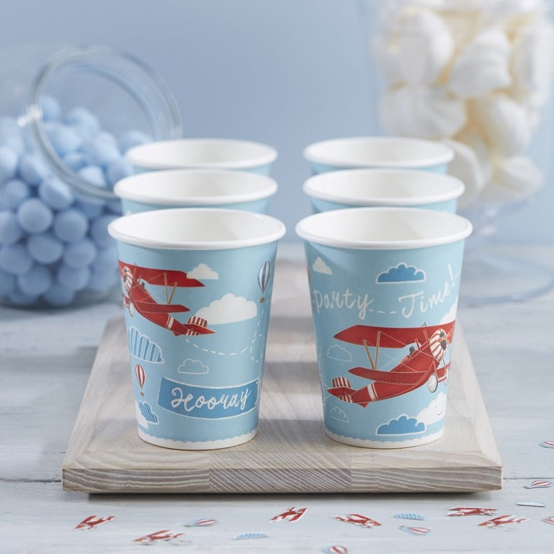 """Flying High"" Vintage Aeroplane - Paper Cups"