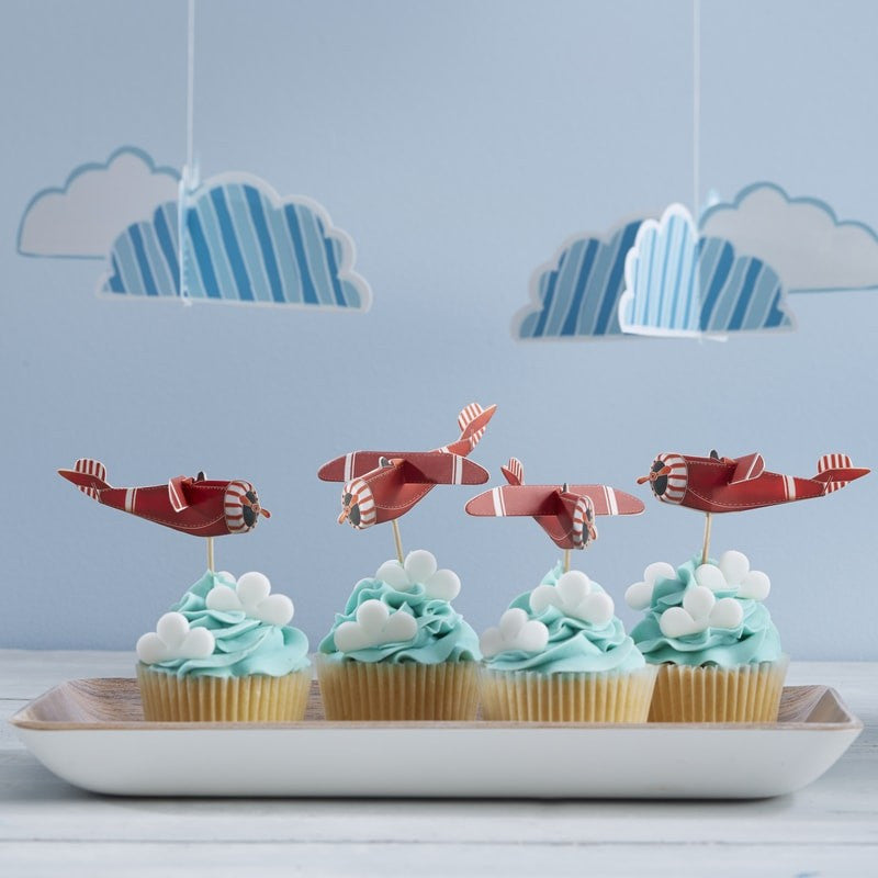 """Flying High"" Vintage Aeroplane - Cupcake Picks"